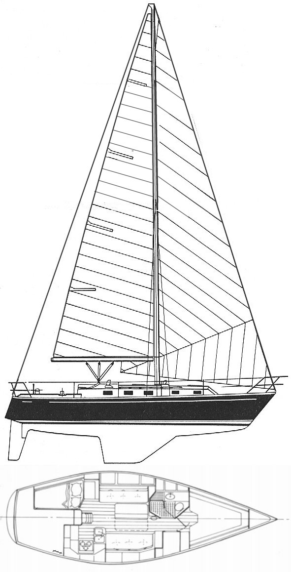 Endeavour 35 drawing on sailboatdata.com