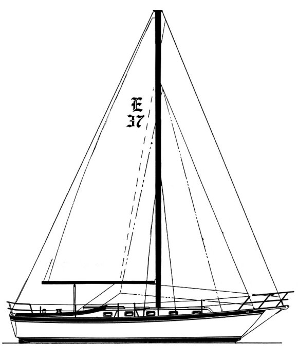 Endeavour 37 w/bowprit & tall rig on sailboatdata.com