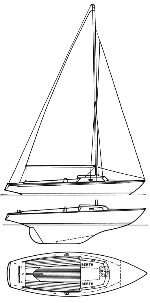 Ensign (Pearson) drawing on sailboatdata.com