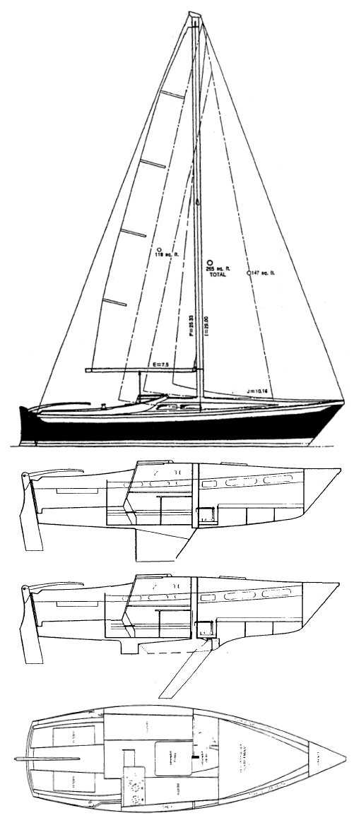 Ericson 23-2 drawing on sailboatdata.com