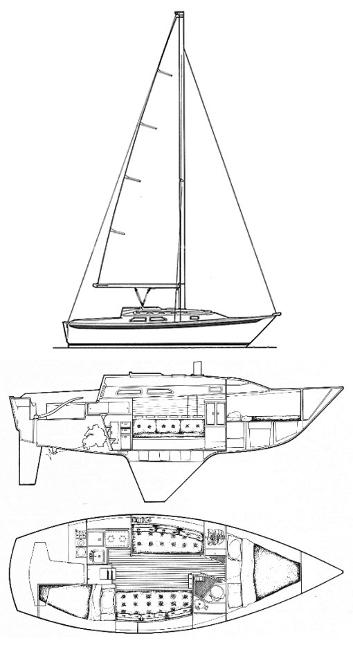 Ericson 28-2 drawing on sailboatdata.com