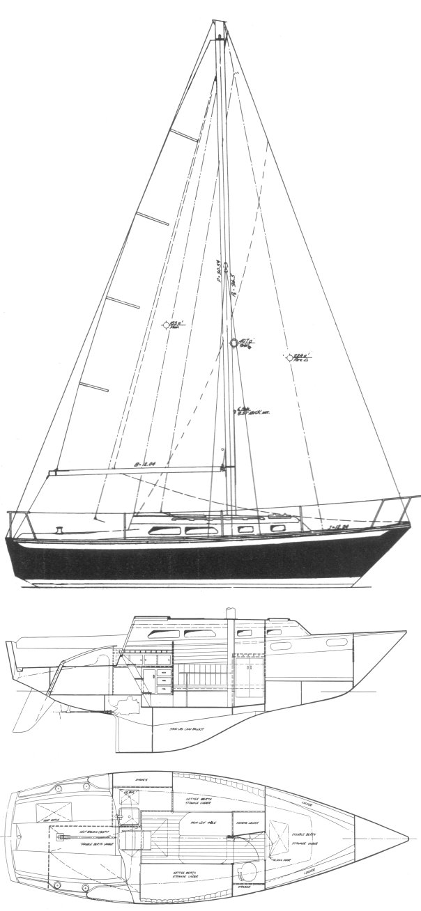 Ericson 29 drawing on sailboatdata.com
