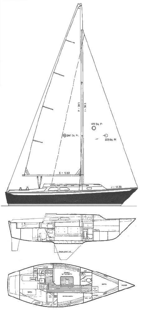 Ericson 30+ drawing on sailboatdata.com