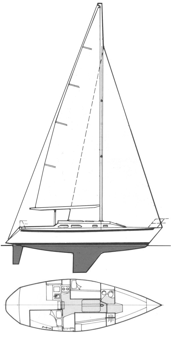 Ericson 33 drawing on sailboatdata.com