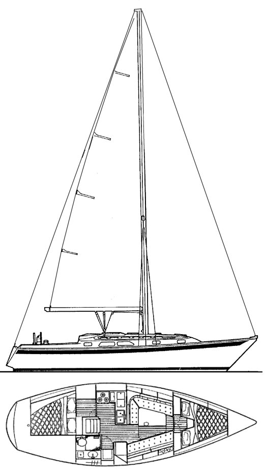 Ericson 34-2 drawing on sailboatdata.com