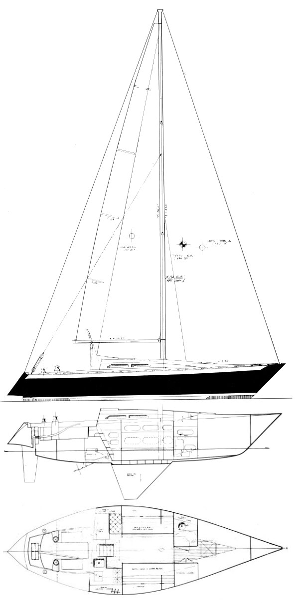 Ericson 34X drawing on sailboatdata.com