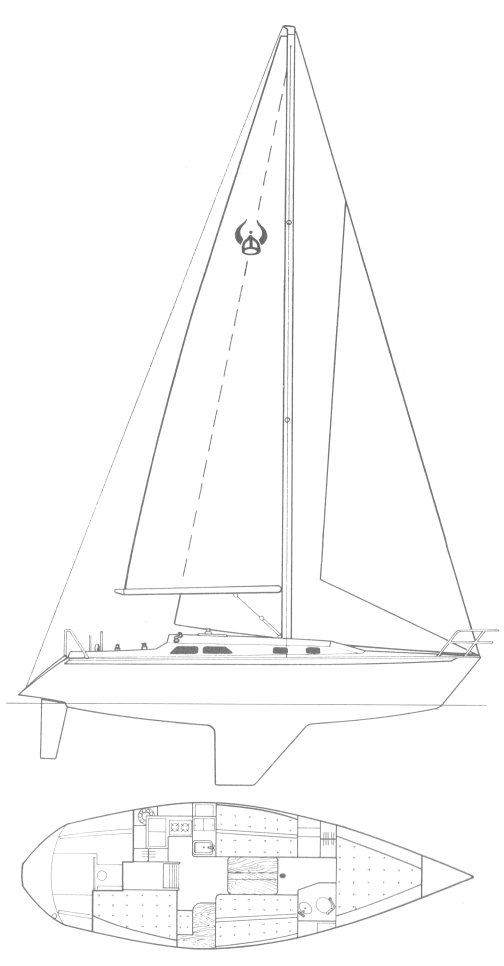Ericson 36 drawing on sailboatdata.com