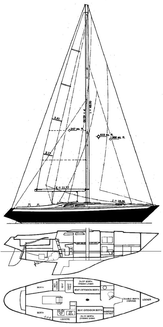 Ericson 37 drawing on sailboatdata.com