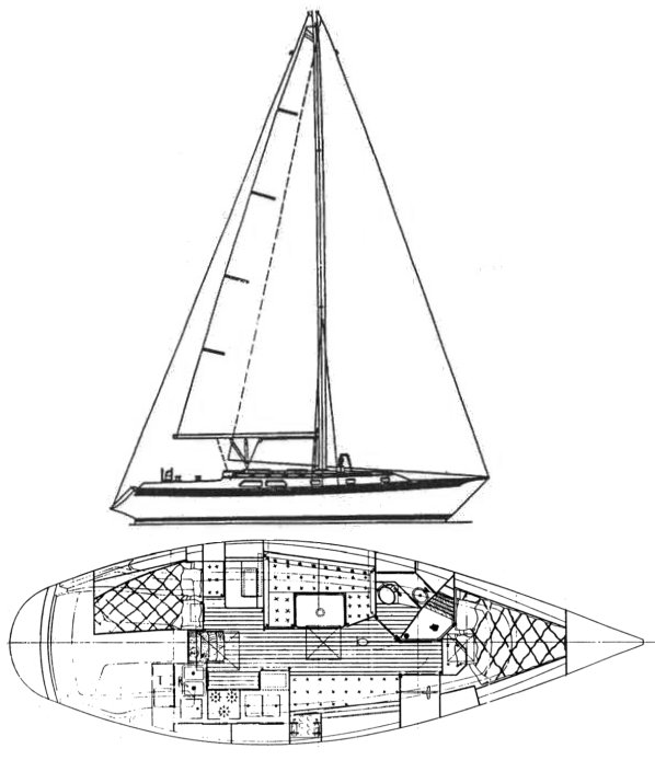Ericson 381 drawing on sailboatdata.com