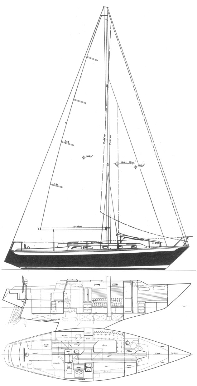 Ericson 39B drawing on sailboatdata.com