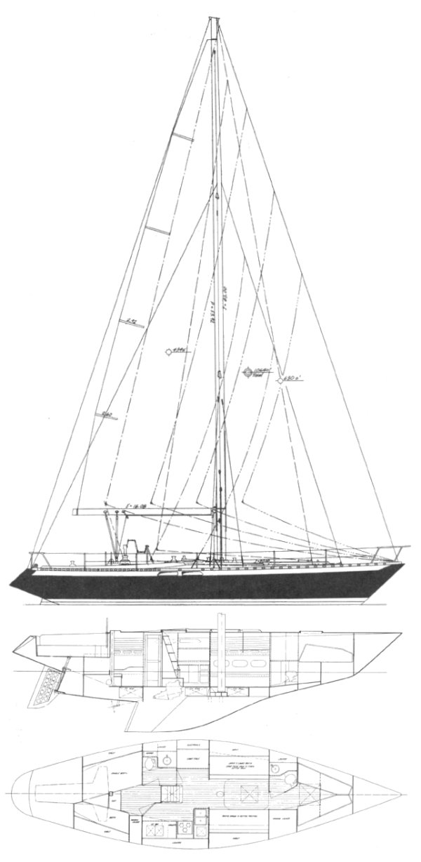 Ericson 46 drawing on sailboatdata.com