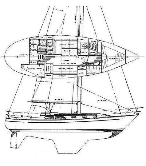 Esprit 37 drawing on sailboatdata.com