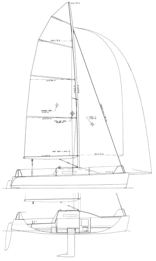 Este 24 drawing on sailboatdata.com