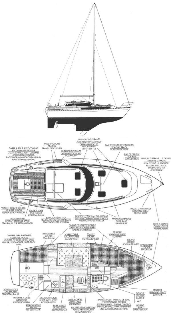 EVASION 34 (BENETEAU) drawing