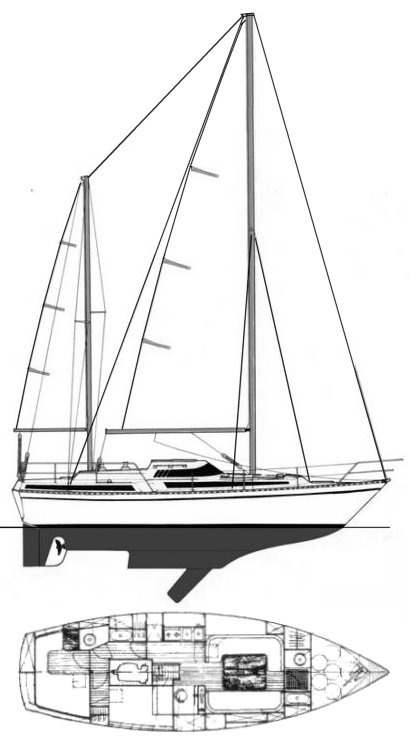 Evasion 37 (Beneteau) drawing on sailboatdata.com