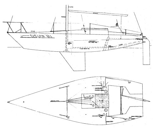 Evelyn 25.5 drawing on sailboatdata.com