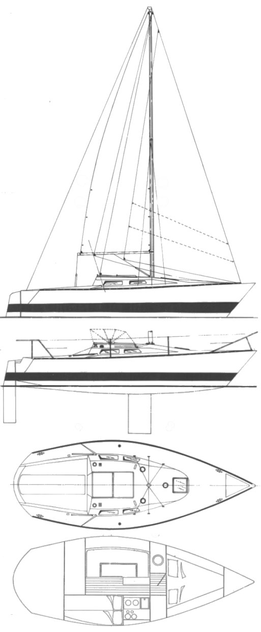 Evolution 26 drawing on sailboatdata.com