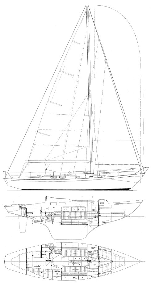 Excalibur 36 drawing on sailboatdata.com