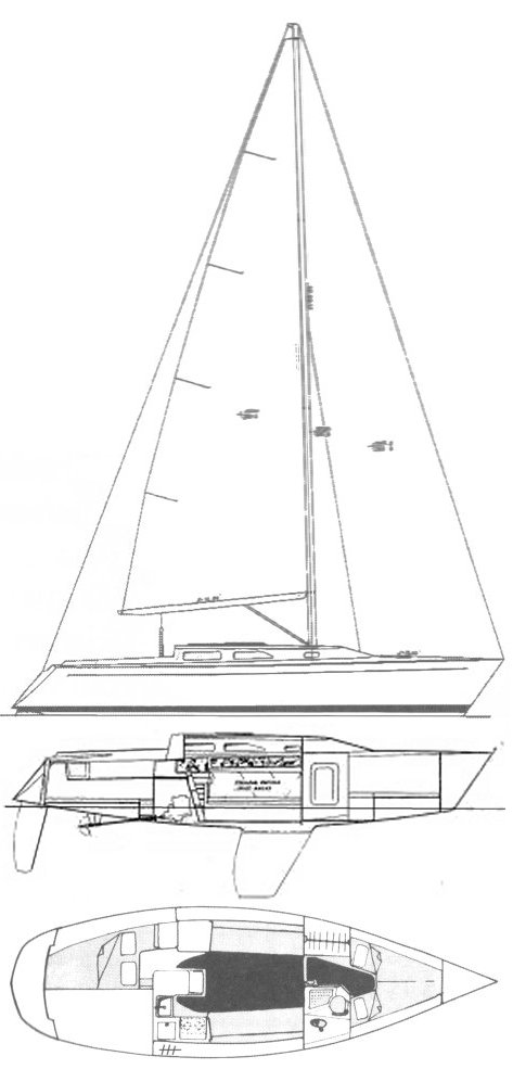 Express 34 drawing on sailboatdata.com
