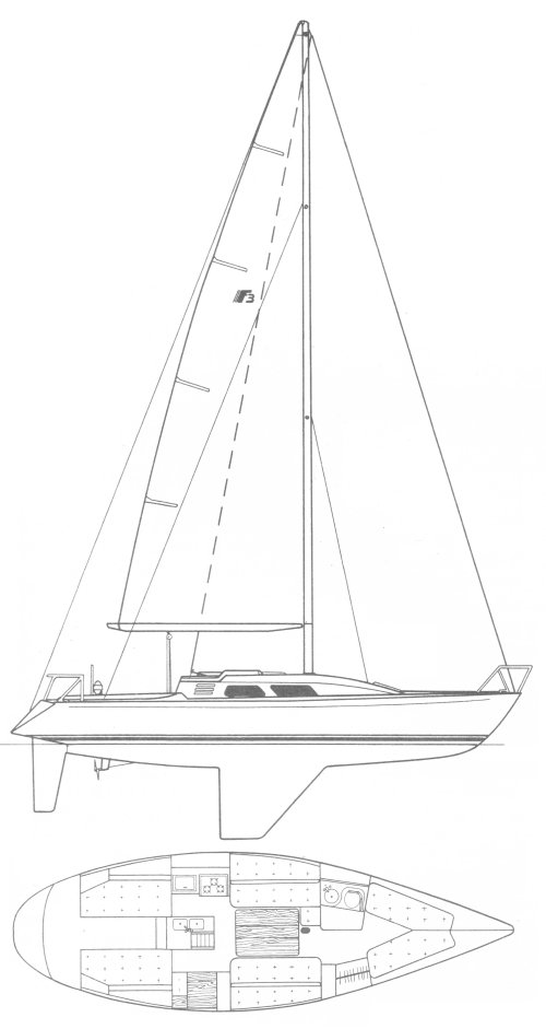 F3 (Frers) drawing on sailboatdata.com