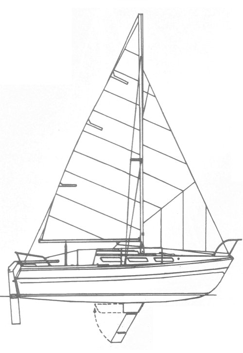 Fairwinds 27 drawing on sailboatdata.com