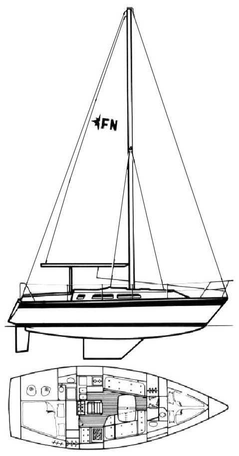 Falcon 34 (Westerly) drawing on sailboatdata.com