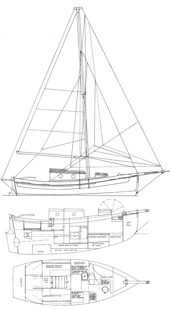 Falmouth Cutter drawing on sailboatdata.com