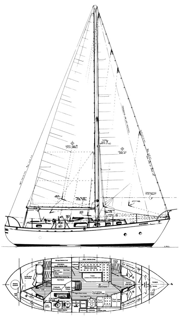 Fantasia 35 (Bingham) drawing on sailboatdata.com