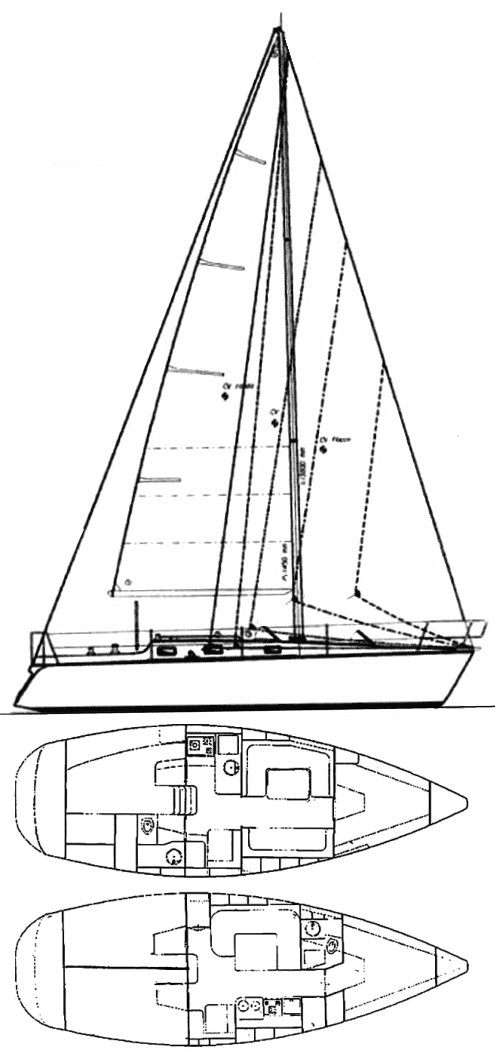Fax (Zuanelli) drawing on sailboatdata.com