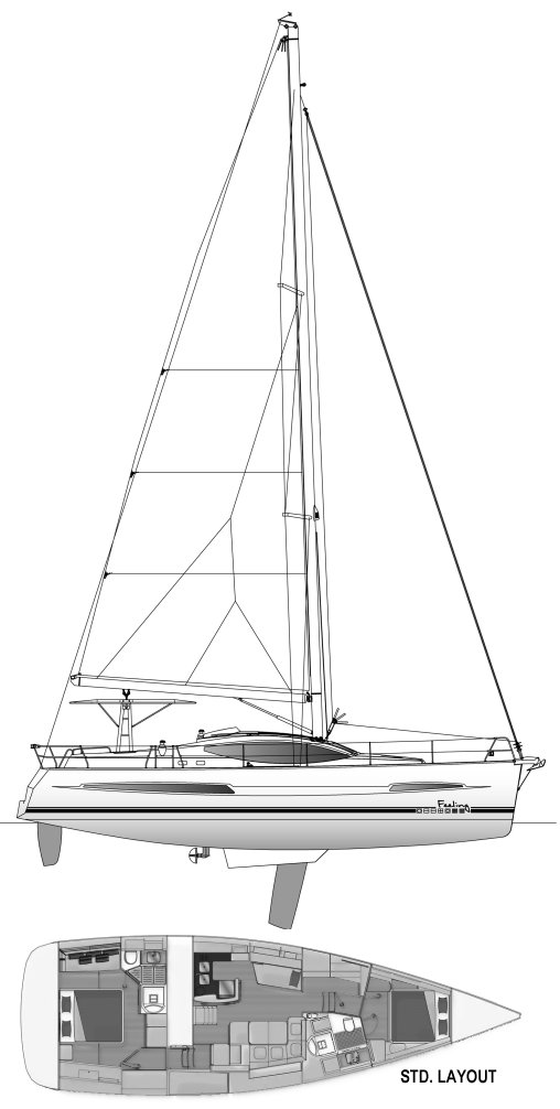 Feeling 48 drawing on sailboatdata.com