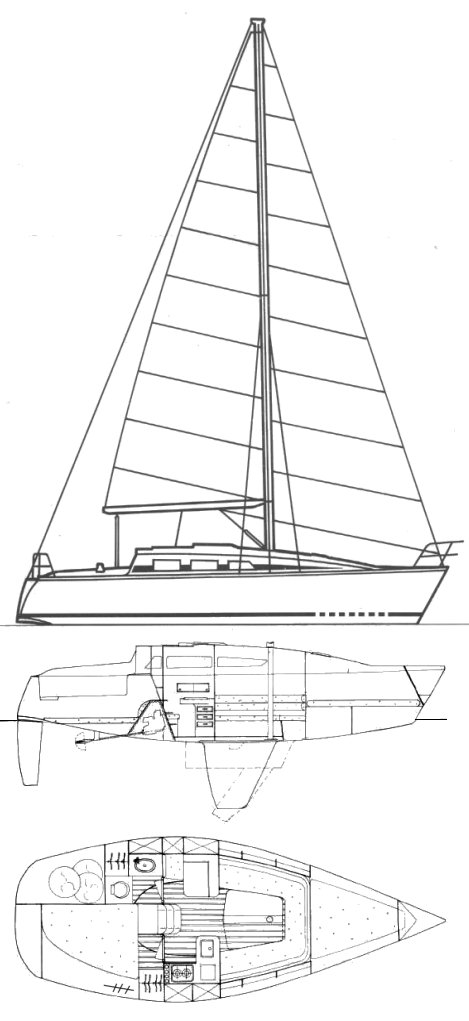 Feeling 850 drawing on sailboatdata.com