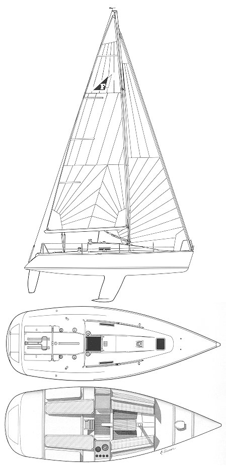 Figaro Solo (Beneteau) drawing on sailboatdata.com