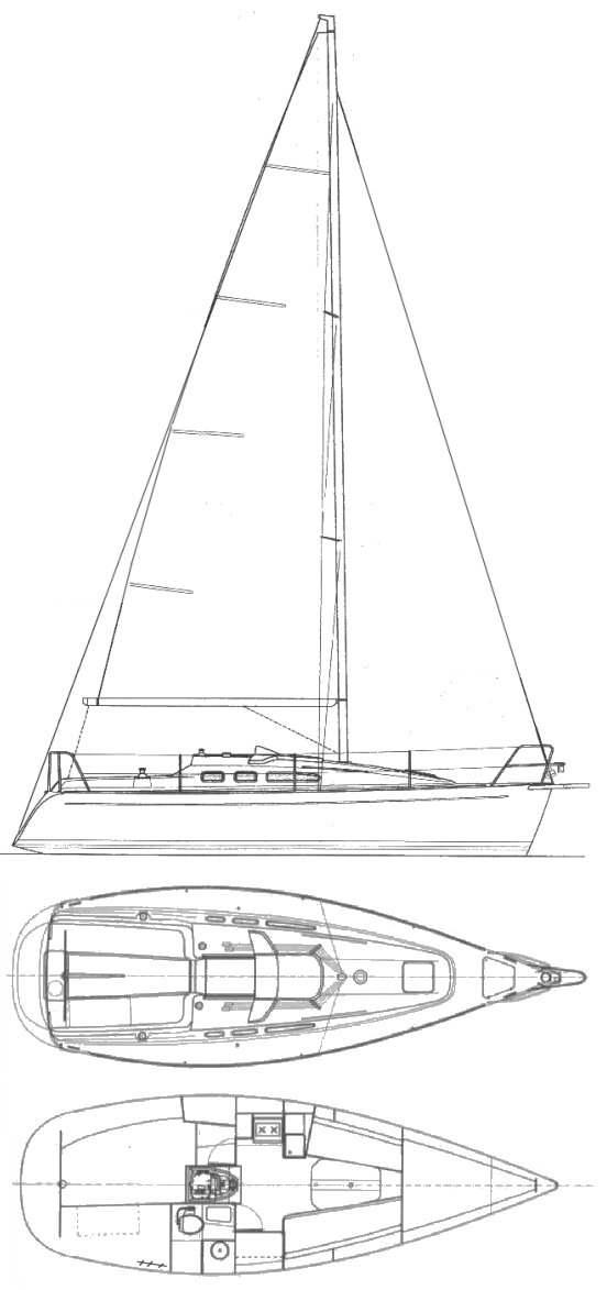 Finngulf 28E drawing on sailboatdata.com