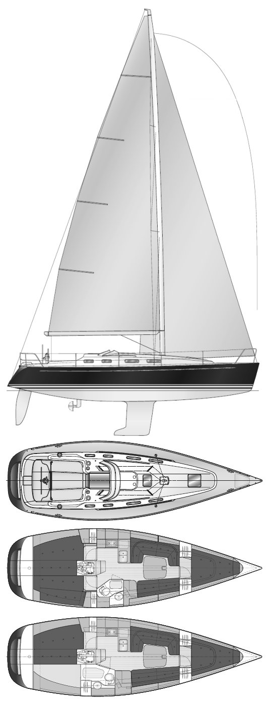 Finngulf 37 drawing on sailboatdata.com