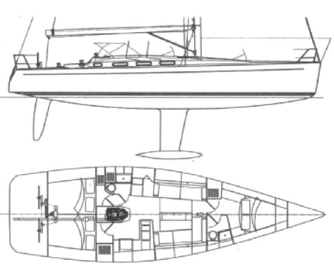 Finngulf 43 drawing on sailboatdata.com