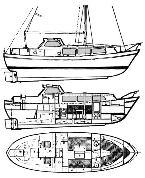 Finnsailer 35 drawing on sailboatdata.com