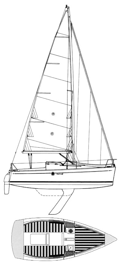 First 211 (Beneteau) drawing on sailboatdata.com