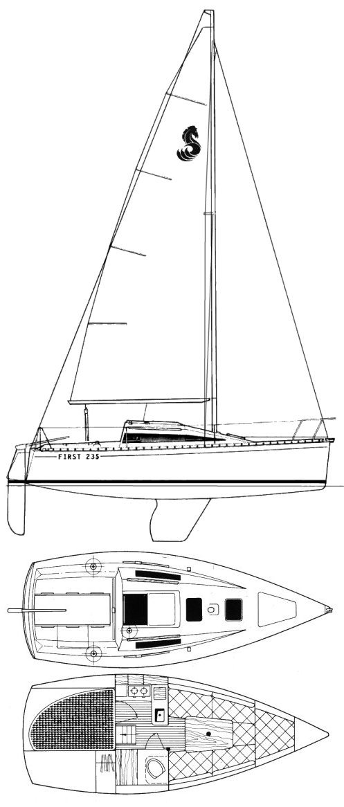 First 235 drawing on sailboatdata.com