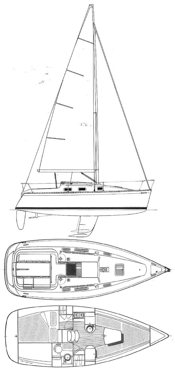 First 265 (Beneteau) drawing on sailboatdata.com