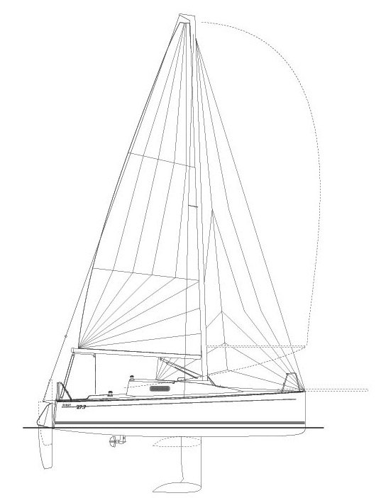 First 27.7 drawing on sailboatdata.com