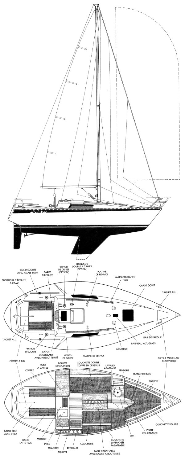 First 27 (Beneteau) drawing on sailboatdata.com