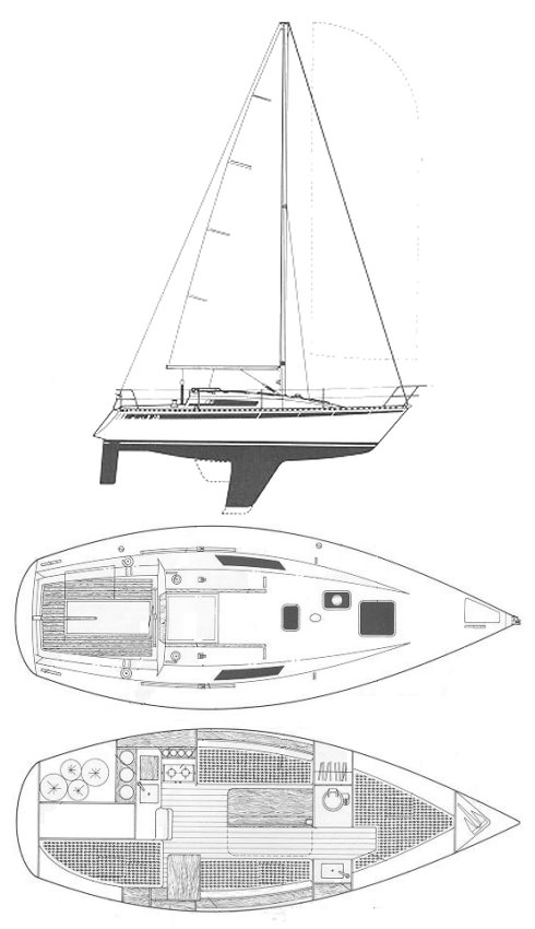 First 28 (Beneteau) drawing on sailboatdata.com