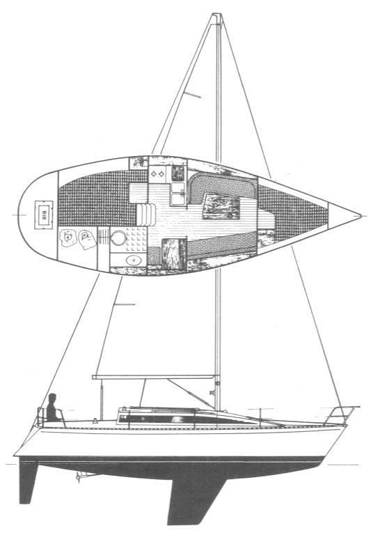 First 305 drawing on sailboatdata.com