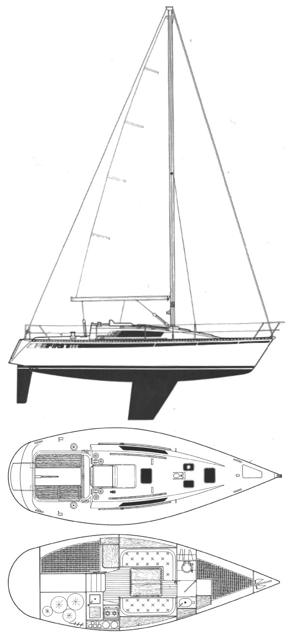FIRST 30 E (BENETEAU - BERRET) drawing