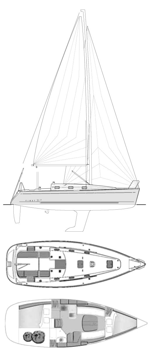 First 31.7 (Beneteau) drawing on sailboatdata.com