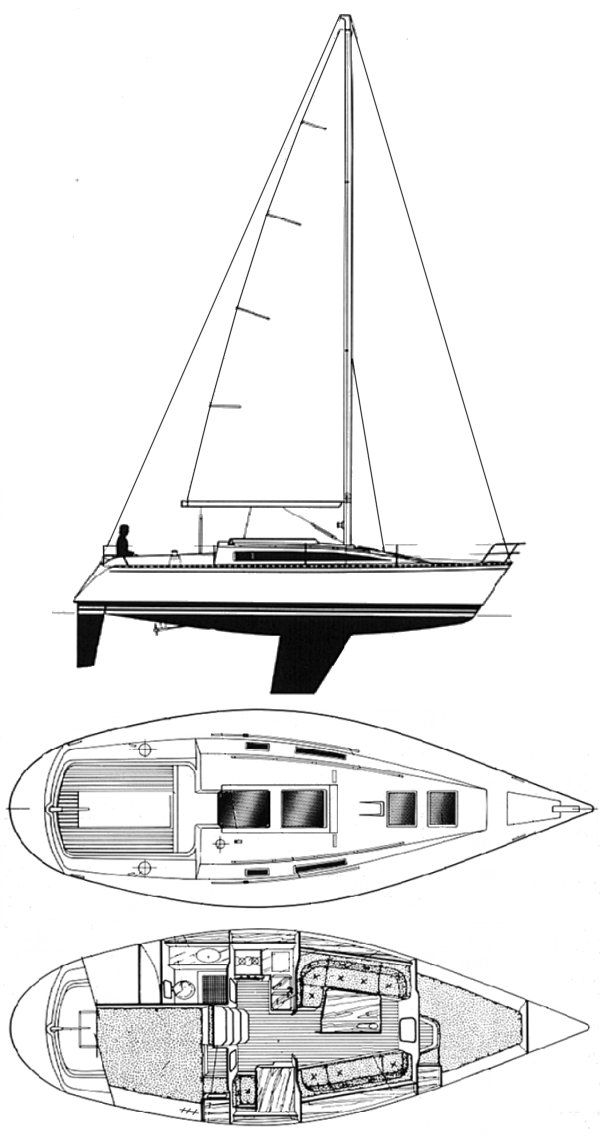 First 325 (Beneteau) drawing on sailboatdata.com