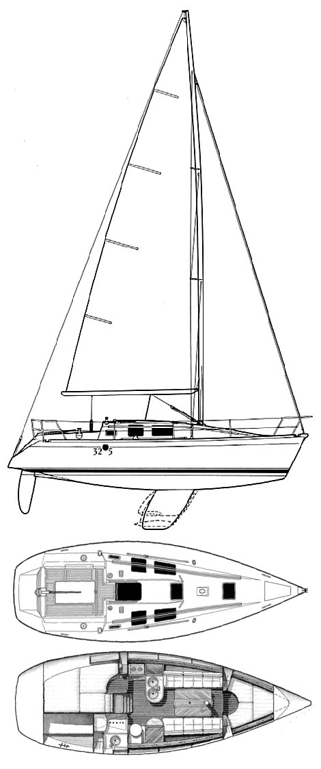 First 32s5 drawing on sailboatdata.com