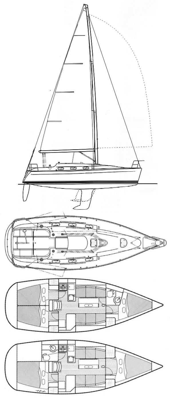 First 33.7 (Beneteau) drawing on sailboatdata.com