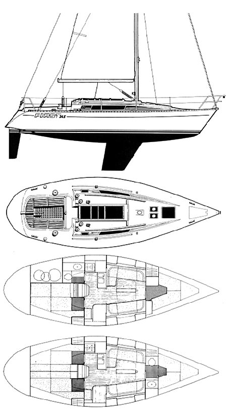 First 345 (Beneteau) drawing on sailboatdata.com