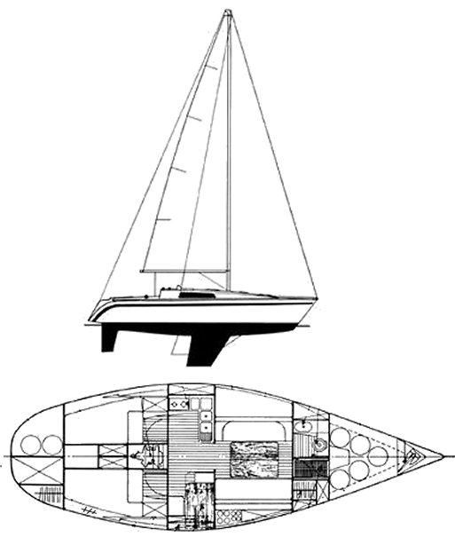 First 35 (Beneteau) drawing on sailboatdata.com